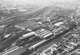 Cape Town, 1957. Aerial view of workshops at Salt River.