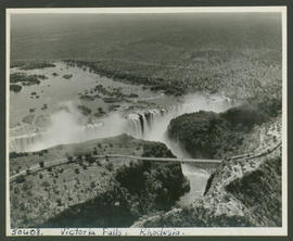 Victoria Falls, Rhodesia, 1946. Aerial view of waterfall.