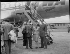 Flight crew outside TWA Lockheed Constellation 'Star of Madrid'.