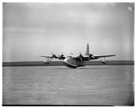 Vaal Dam, November 1949. Arrival of BOAC Solent flying boat G-AKNP 'City of Cardiff'. Touching down.
