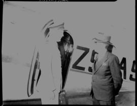 Johannesburg, December 1944. SAA Inauguration of new service in Union at Rand Airport. Captain sp...