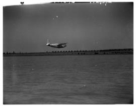 Vaal Dam, circa 1948. BOAC Solent flying boat G-AKCR 'Saint Andrew'. Aircraft just before touchdown.