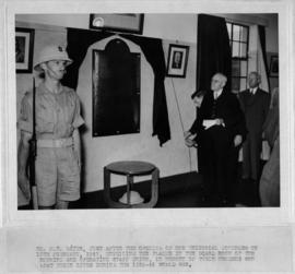10 February 1947. Mr FT Bates unveiling plaque in boardroom of th Running and Operating Staff Uni...