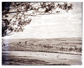 Transkei, 1951. Kraal in the distance.