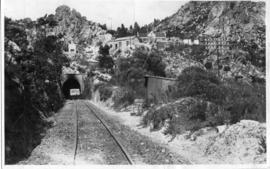 Sir Lowry's Pass. Inspection trolley at entrance to tunnel.