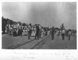 Okiep - Port Nolloth narrow gauge railway. Circa 1890. Missionary children about to leave for a p...