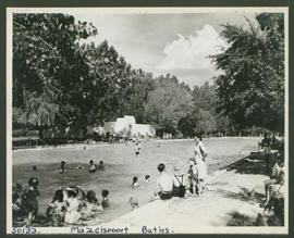 Bloemfontein district, 1946. Bathers in swimming pool at Maselspoort.