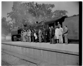 Bloemfontein, 7 March 1947. Railway officials with SAR Class 16E to take the Pilot Train to Cape ...