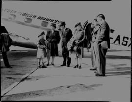 Johannesburg, December 1944. SAA Inauguration of new service in Union at Rand Airport. Passengers...