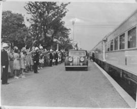 Malelane, 27 March 1947. Crowd waving as the Royal Family leaves the Royal Train for the Kruger N...