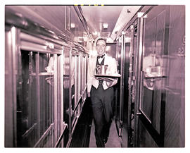 """1946. Blue Train 1939 stock, morning tea being served."""