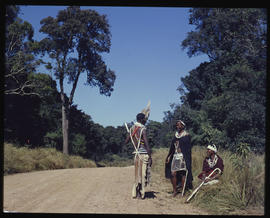 Melmoth district, 1961. Zulus on country road in Nkandla forest.