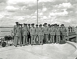 Vaal Dam, 1948. BOAC Solent Flying Boat G-AHIV 'Salcombe'. Uniformed men arriving.
