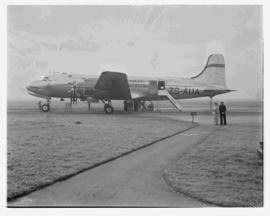 Cape Town, May 1946. Trip to Cape Town with SAA Douglas DC-4 ZS-AUA 'Tafelberg', aircraft on apron.