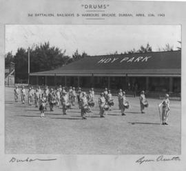 Durban, 10 April 1943. SAR&H Brigade Third Battalion 'Drums' band at Hoy Park. (Lynn Acutts, ...
