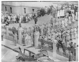 Cape Town, 21 February 1947. King George VI and Queen Elizabeth leaving the Houses of Parliament ...