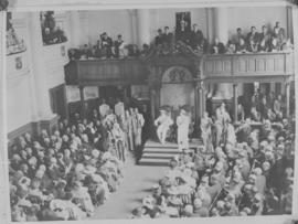 Cape Town. King George VI and Queen Elizabeth with dignitaries.