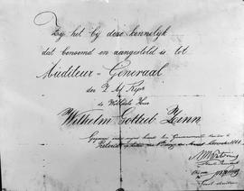 Pretoria, 1866. Certificate to confirm the appointment of the Auditor-General Wilhelm Gotlieb Zinn.