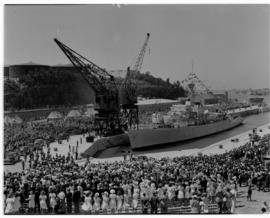 East London, 3 March 1947. Princess Elizabeth graving dock at official naming ceremony. Ship in d...