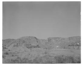 Bethulie, June 1967. Construction of new road / rail bridge over the Orange River. Quarry for agg...