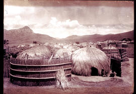 Lobamba, Swaziland, 1933. The kraal of the Queen Mother.
