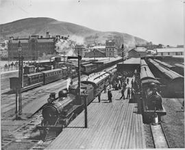 Cape Town, circa 1906. Departure of CGR 4-4-2 4th class Atlantic locomotive (later SAR Class 04) ...