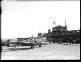 Johannesburg, 1936. Rand airport. SAA Airspeed Envoy ZS-AGA 'Gen JW Janssens' with engines runnin...