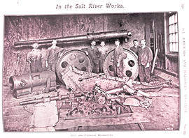 Cape Town. Dismantled cannon used in World War One in Salt River workshop with staff. (SAR&H ...
