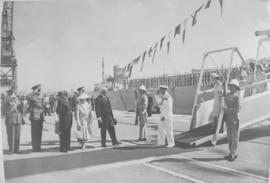 Cape Town, 17 February 1947. Royal family disembark from HMS Vanguard at Duncan Dock.