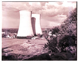 """Bloemfontein, 1954. Cooling towers at power station."""