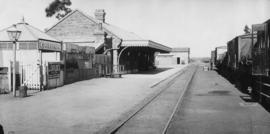 Cookhouse, 1895. Train in station. (EH Short)