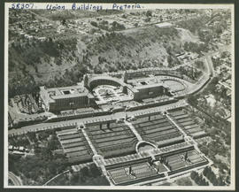 Pretoria, 1951. Aerial view of Union buildings.