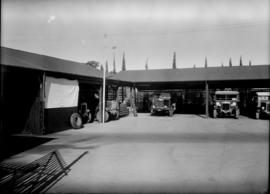 Bremersdorp, Swaziland, 1936. Panoramic view of Road Motor Service garage.