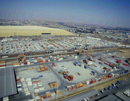 Johannesburg, 1985. Aerial view of City Deep container depot.