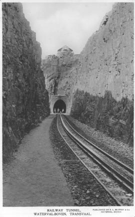 Waterval-Boven, 1901. Railway tunnel western portal with rack rail in foreground and blockhouse a...
