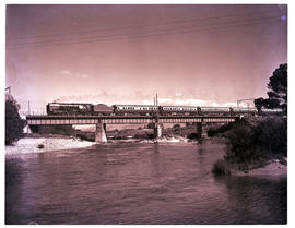 Paarl district, 1952. SAR Class 15F with Orange Express crossing the Berg River.