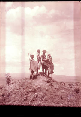 """Swaziland, 1933. Young Swazis on a hilltop."""