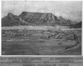 Cape Town, 1870. Watercolour painting of Table Bay Harbour, Cape Town and Table Mountain.