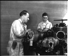 Johannesburg, circa 1949. Rand Airport. Working on aircraft engine in workshop. (JK Hora)