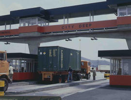 Johannesburg, 1978. Containers being weighed at City Deep container depot prior to loading on con...