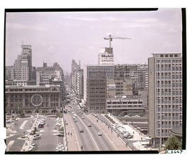Johannesburg, 1964. Rissik Street with large SAR emblem on railway building during Johannesburg F...