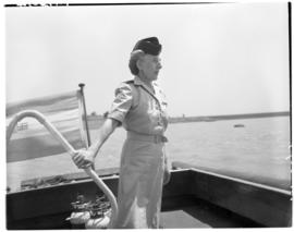 Vaal Dam, November 1949. BOAC Solent G-AHIX 'City of Edinburgh'. Hostess on passenger boat.