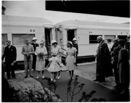 Queenstown, 6 March 1947.  Royal family welcomed at the station.
