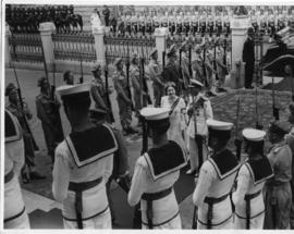 Royal Tour 1947. King and Queen at military parade.
