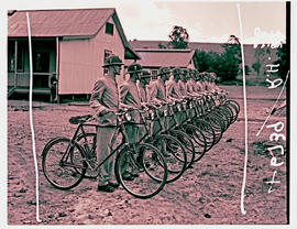 Army recruits in training, bicycle corps.