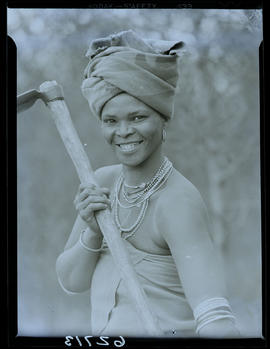 Transkei, 1954. Woman with hoe.
