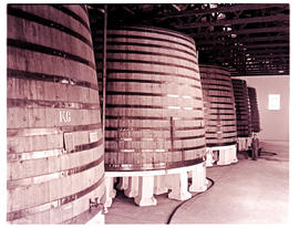 Paarl, 1945. Rows of 1000 hectolitre wine vats at KWV distillery.