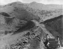 Construction of railway line through difficult mountainous terrain.