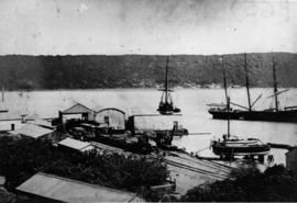 Durban. The first railway station at the Point with sailing vessels in the the harbour..