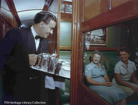 Tea served in a compartment on the Trans Karoo Express.
